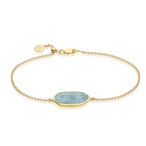 Gold Vermeil Capri Chain Bracelet - Aquamarine