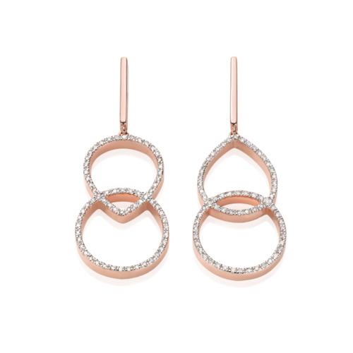 Rose Gold Vermeil Naida Kiss Open Cocktail Earrings - Diamond Front