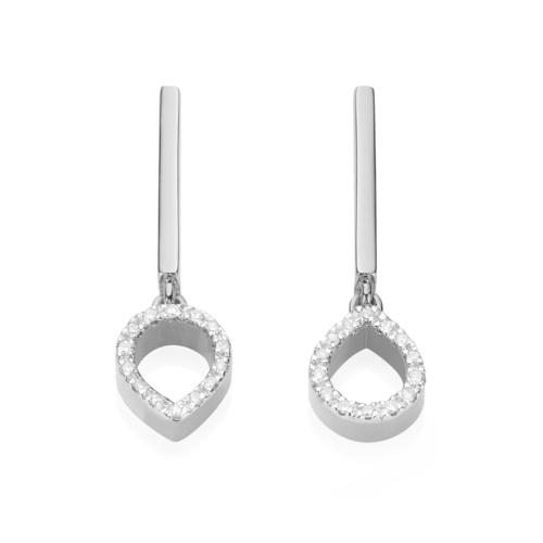 Naida Mini Lotus Open Drop Earrings - Diamond