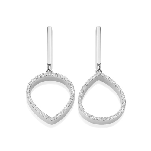 Naida Lotus Open Drop Earrings - Diamond