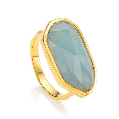 Gold Vermeil Capri Ring - Aquamarine