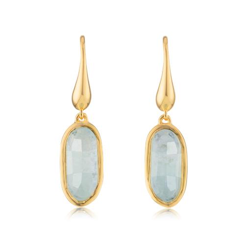 Gold Vermeil Vega Drop Earrings - Aquamarine - Monica Vinader