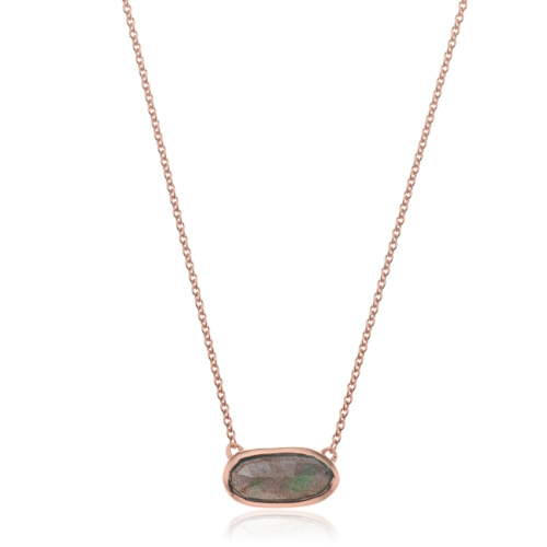 Rose Gold Vermeil Vega Necklace - Labradorite