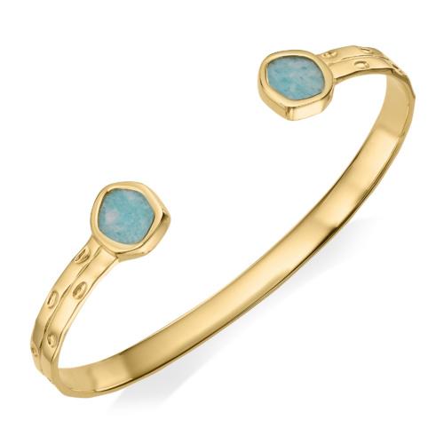 Gold Vermeil Atlantis Thin Cuff - Amazonite 1