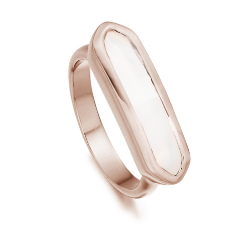 Rose Gold Vermeil Baja Ring - White Chalcedony