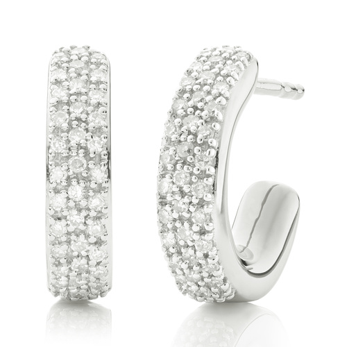 Sterling Silver Fiji Mini Hoop Diamond Earrings - Diamond - Monica Vinader