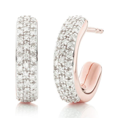 Rose Gold Vermeil Fiji Mini Hoop Diamond Earrings - Diamond - Monica Vinader