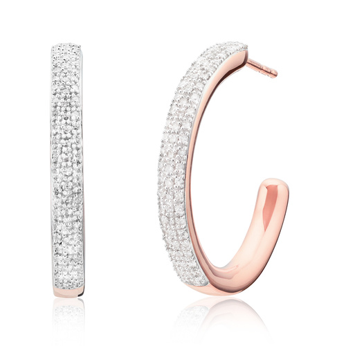 Rose Gold Vermeil Fiji Large Hoop Diamond Earrings - Diamond - Monica Vinader