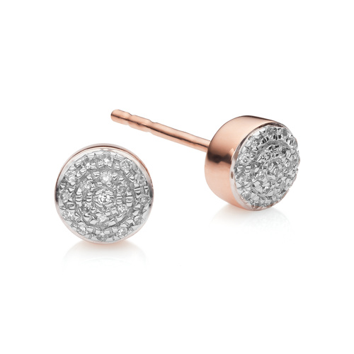 Rose Gold Vermeil Fiji Mini Button Stud Earrings - Diamond - Monica Vinader