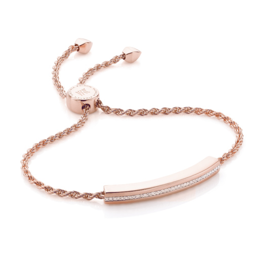 Rose Gold Vermeil Linear Chain Bracelet - Diamond