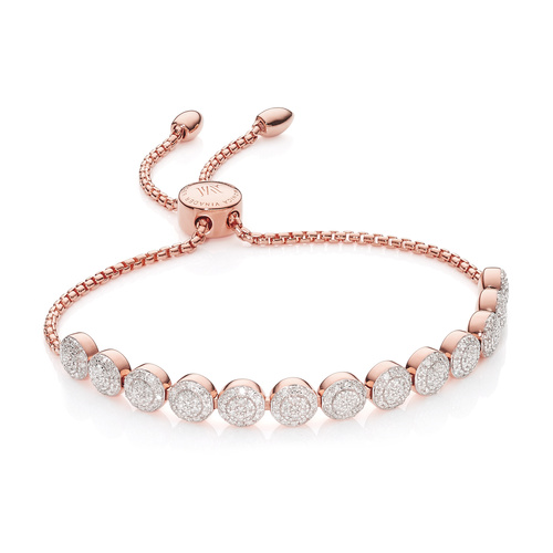 Rose Gold Vermeil Fiji Mini Button Friendship Chain Bracelet - 13 Beads - Diamond - Monica Vinader