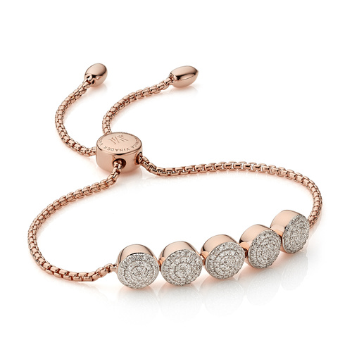 Rose Gold Vermeil Fiji Button Friendship Chain Bracelet - Diamond - Monica Vinader