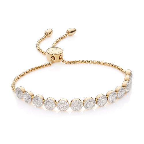 Gold Vermeil Fiji Mini Button Friendship Chain Bracelet - 13 Beads - Diamond - Monica Vinader