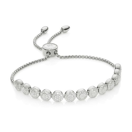 Sterling Silver Fiji Mini Button Friendship Chain Bracelet - 13 Beads - Diamond - Monica Vinader