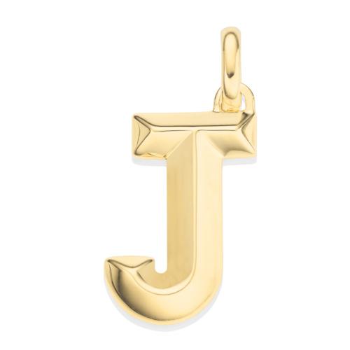Gold Vermeil Alphabet Pendant J