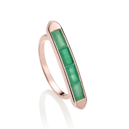 Rose Gold Vermeil Baja Precious Skinny Ring - Emerald