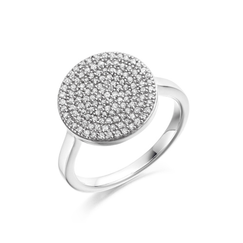 Sterling Silver Ava Disc Ring - Diamond - Monica Vinader