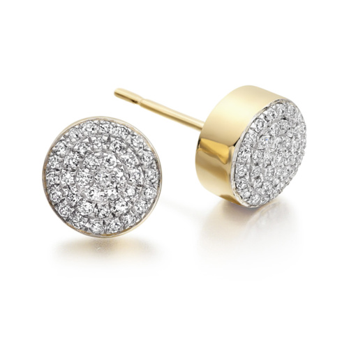 Gold Vermeil Fiji Button Stud Earrings - Diamond - Monica Vinader