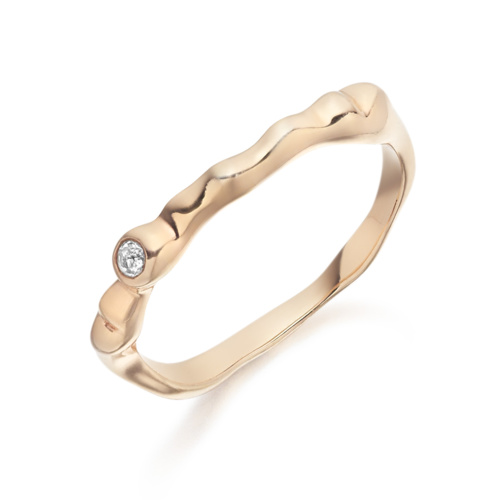 Rose Gold Vermeil Siren Band - White Topaz - Monica Vinader