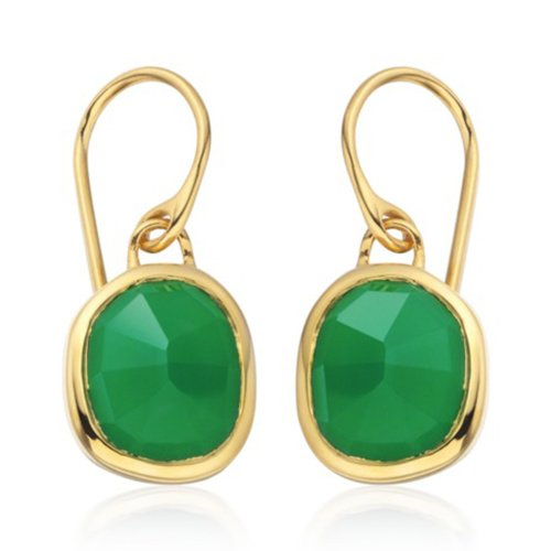 Green Onyx siren wire earrings - Front view