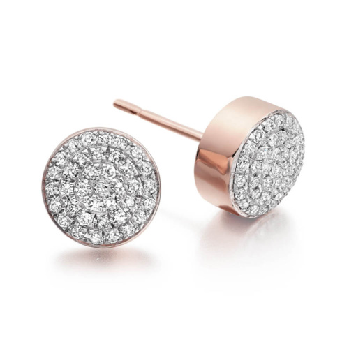 Rose Gold Vermeil Fiji Button Stud Earrings - Diamond - Monica Vinader