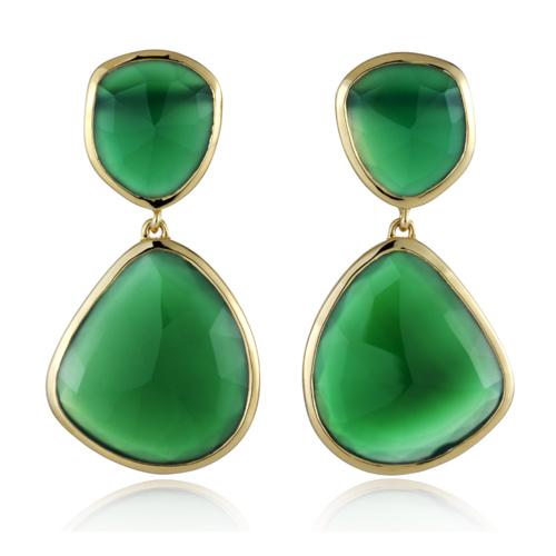 Gold Vermeil Siren Drop Cocktail Earrings - Green Onyx - Monica Vinader
