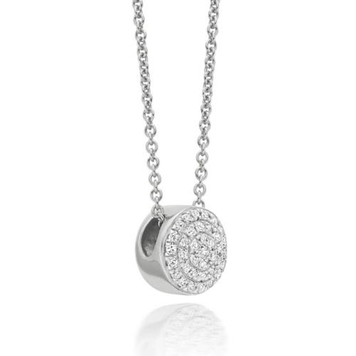Sterling Silver Fiji Button Necklace - Diamond - Monica Vinader