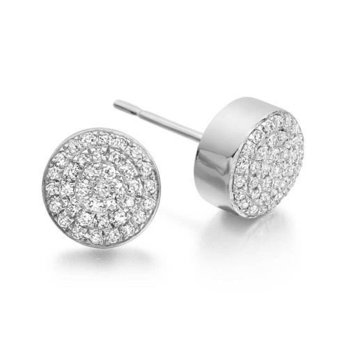 Sterling Silver Fiji Button Stud Earrings - Diamond - Monica Vinader