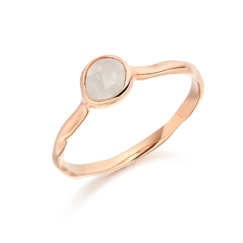 Rose Gold Vermeil Siren Small Stacking Ring - Moonstone - Monica Vinader