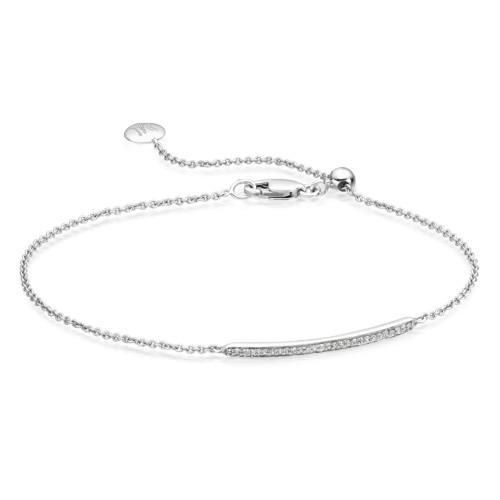 Sterling Silver Skinny Short Bar Bracelet - Diamond - Monica Vinader