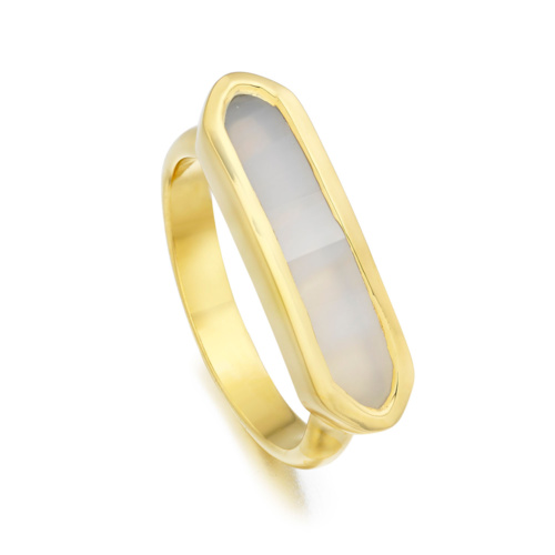 Gold Vermeil Baja Ring - Grey Agate - Monica Vinader