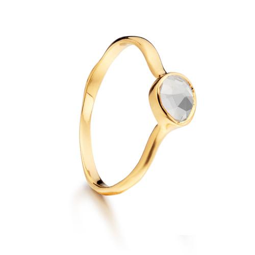 Gold Vermeil Siren Small Stacking Ring - White Topaz - Monica Vinader