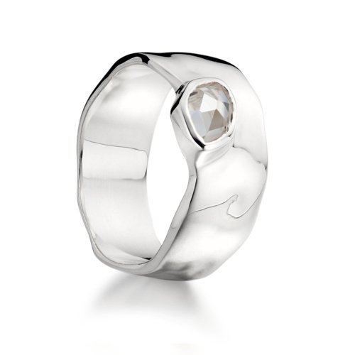 Sterling Silver Siren Wide Band - White Topaz - Monica Vinader