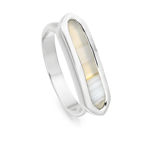 Sterling Silver Baja Ring - Grey Agate - Monica Vinader