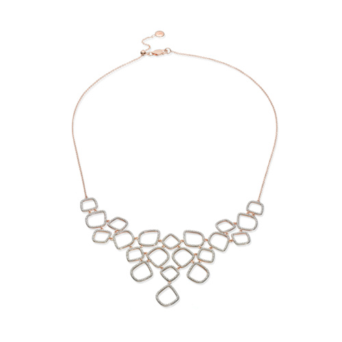 Rose Gold Vermeil Riva Diamond Cluster Bib - Diamond - Monica Vinader
