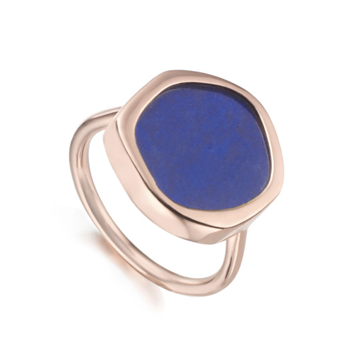 Rose Gold Vermeil Atlantis Gem Ring - Lapis - Monica Vinader
