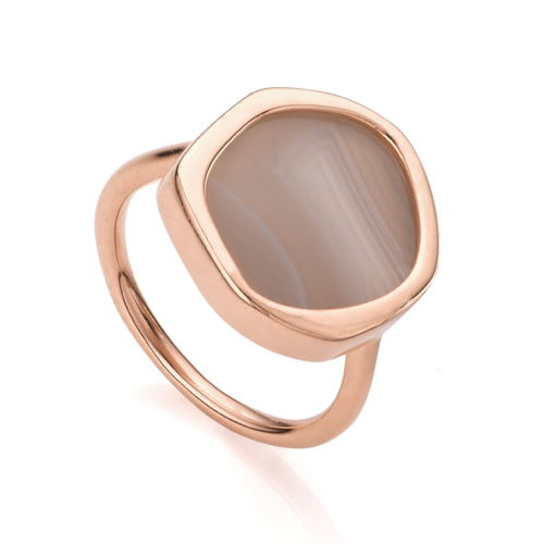 Rose Gold Vermeil Atlantis Gem Ring - Grey Agate - Monica Vinader