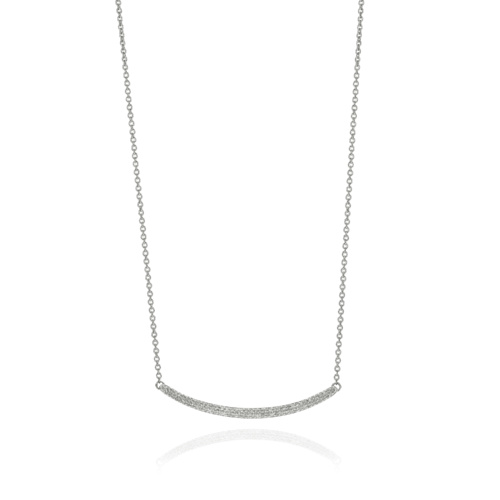 Skinny Curve Necklace - Diamond - Monica Vinader