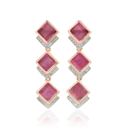 Rose Gold Vermeil Baja Precious Cocktail Earrings - Ruby & Diamond
