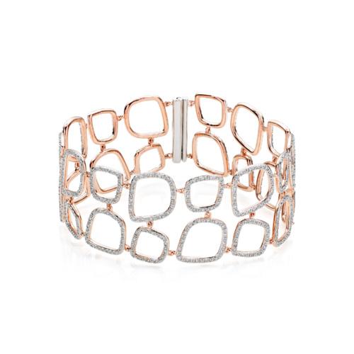 Rose Gold Vermeil Riva Diamond Cluster Cuff - Diamond - Monica Vinader