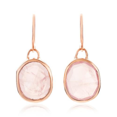 Rose Gold Vermeil Siren Wire Earrings - Rose Quartz - Monica Vinader ...