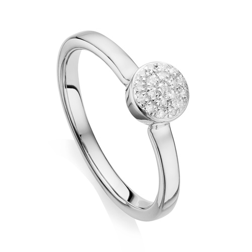 Fiji Mini Button Stacking Ring - Diamond - Monica Vinader