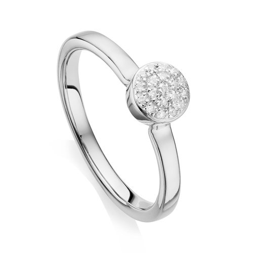 Sterling Silver Fiji Mini Button Stacking Ring - Diamond - Monica Vinader