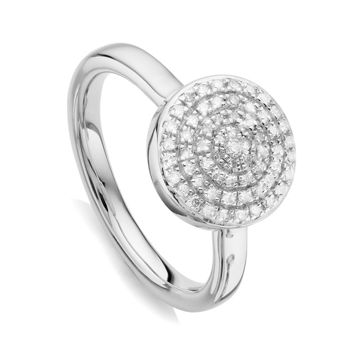 Sterling Silver Fiji Large Button Stacking Ring - Diamond - Monica Vinader