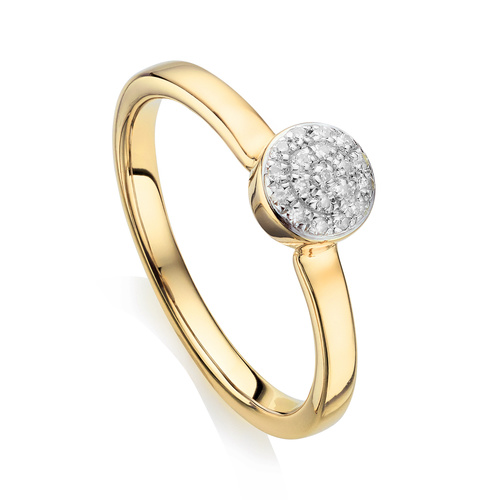 Gold Vermeil Fiji Mini Button Stacking Ring - Diamond - Monica Vinader