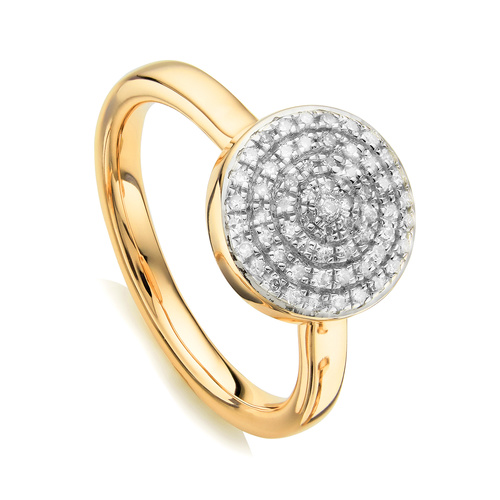 Gold Vermeil Fiji Large Button Stacking Ring - Diamond - Monica Vinader