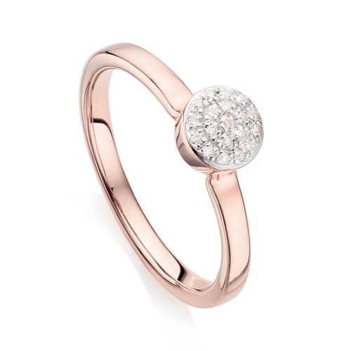 Rose Gold Vermeil Fiji Mini Button Stacking Ring - Diamond - Monica Vinader