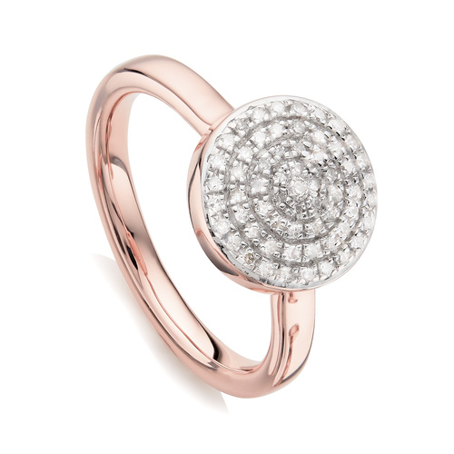 Rose Gold Vermeil Fiji Large Button Stacking Ring - Diamond - Monica Vinader