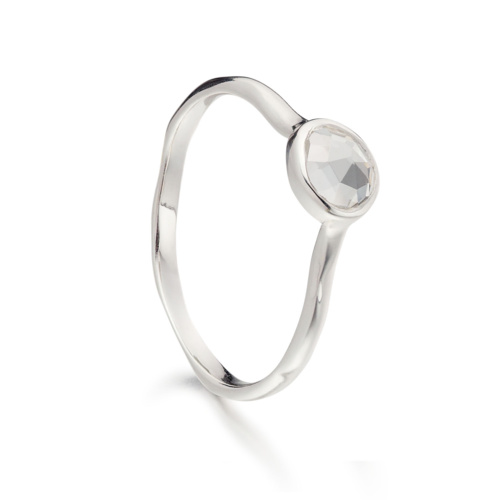 Siren Small Stacking Ring - White Topaz - Monica Vinader