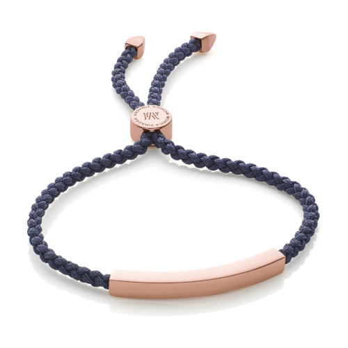 Rose Gold Vermeil Linear Friendship Bracelet - Navy Cord